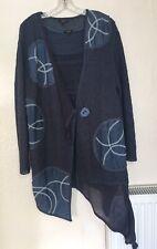 Horsan Lagenlook Asymmetric Blue Linen Mix Patchwork Cardigan & Top - Size XL