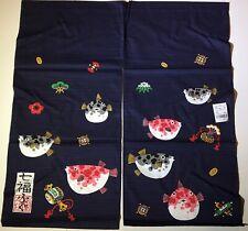 "Japanese Navy Noren Door Room Divider Curtain Fugu Lucky Fish 35""L Made in Japan"