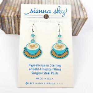 Sienna Sky Earrings 925 Sterling Silver Hook Handpainted Latte Heart Coffee Cup