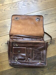 Italian, brown, leather briefcase.