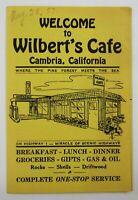 Vintage Restaurant Menu Wilbert's Cafe Coffee Shop Chevron Gas Cambria CA 1957