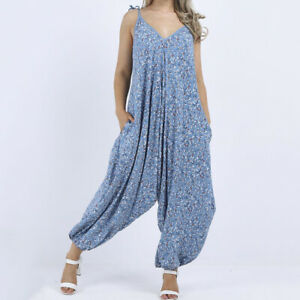 Floral Strappy Balloon Jumpsuit in Sky Blue from Timeless Season