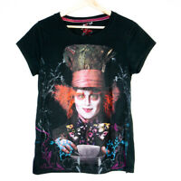 Alice In Wonderland Mad Hatter Johnny Depp Womens Black T-Shirt Size XL