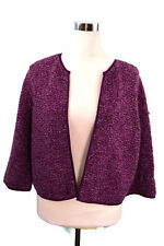 Ann Taylor Purple Blazer Coat Jacket Size Large 100% Merino Wool Career