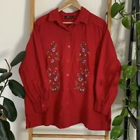 Vintage Swish Womens Red Flower Floral Embroidered Button Up Large Blouse Top