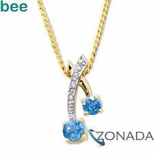 Unique Diamond Blue Topaz 9k Solid Yellow Gold Pendant 65259/BT