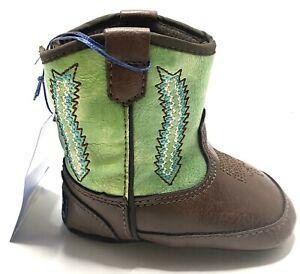 Double Barrel Green Wyatt Baby Bucker Western Boots - Size Infant 2