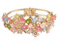 New Golden Faux Pearl Detailed Enamel Paint Cluster of Flower Bangle Bracelet
