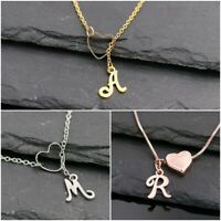 Wählen: A-Z Edelstahl Buchstaben Halskette mit Herz, gold. silber oder roségold