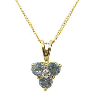 9ct Yellow Gold 0.15ct Round Aqua Fancy Triple Stone Pendant With Chain