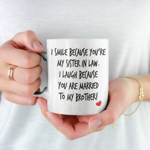 I SMILE BECAUSE YOU'RE MY SISTER IN LAW MUG COASTER FREE P&P CHRISTMAS