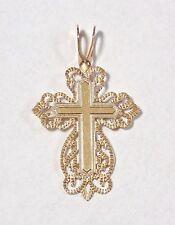 14k Solid Yellow Gold Filigree Religious Christian Cross Pendant Slide