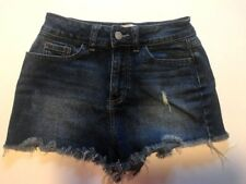 Victoria Secret PINK Denim Cut Off Shorts Distressed Frayed Dark Wash 0 short