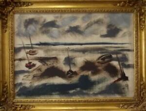 WYETH Mid Century SCOTTISH Modernist Stormy Coastal Oil Painting ISLE OF ARRAN