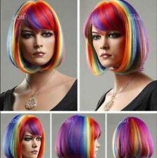New Women Cosplay Hot Sales Short BOB Multicolor Rainbow Cosplay Wigs + Wig Cap