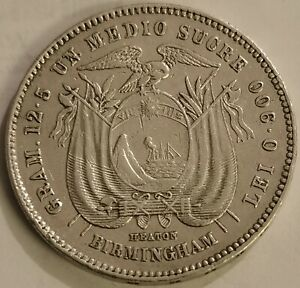 Very Low Mintage ✠ Medio Sucre 1884 ✠ Heaton ✠ Birmingham ✠ 12.47g ✠ KM 52