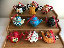 9 Htf Mary Engelbreit Miniature Teapot Tea Pot Ornaments Discontinued