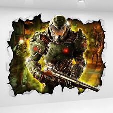 Doom Game 3D Look Wall Vinyl Sticker Poster - Bedroom Gameroom Mural Xbox PS4
