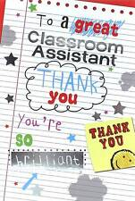 """Thank You Classroom Assistant Greetings Card - Lined Paper & Stars 7.5"""" x 5.25"""""""