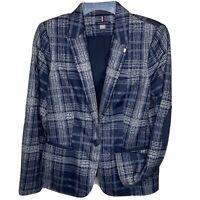 Tommy Hilfiger Womens Blazer Blue With Stripes SZ 10 One Button Jacket