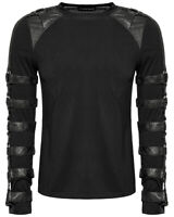 Punk Rave Mens Dieselpunk Goth Long Sleeve T Shirt Top Black Faux Leather Straps