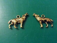 Gold tone  wolf   charms app 18mm x 26mm x 20 pack