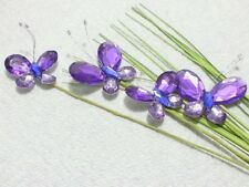 Jeweled Butterfly Floral Picks 28in PURPLE Spring Decor Weddings Crafts BF