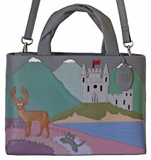 50% OFF CICCIA CAT SCATTISH HIGHLANDS GREY LEATHER GRAB OR SHOULDER BAG RRP £130