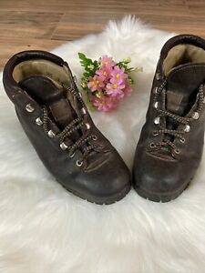 THE ALPS FABIANO PALONS Brown Leather Hiking Boots Size 6.5 N Womens Vintage