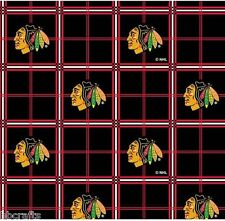 CHICAGO BLACKHAWKS NHL HOCKEY 100% COTTON FLANNEL FABRIC MATERIAL BY 1/2 YARD
