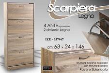 SCARPIERA MODERNA IN LEGNO ROVERE 4 ANTE 8 DIVISORI H146*63*24 CM IZE-657467