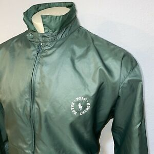 Rare Vtg 80s 90s POLO RALPH LAUREN Windbreaker Jacket Nylon Green Mens LARGE