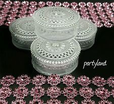 12 Clear Round Plastic Trinket Box Fillable Wedding Favor Table Decorations