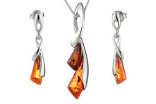 925 Sterling Silver Baltic Amber Pendant Earrings Set +Chain Jewellery Jewelry
