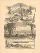 Montreal, Canada, Helen's Island, Custom House, Vintage, 1874 Antique Print,