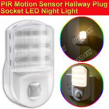 England PIR Motion Sensor LED Night Light Hallway UK Plug Socket Beam Warm Lamp