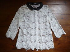THE KOOPLES CREAM SHEER  LACE SHIRT & LEATHER COLLAR, S, 6-8
