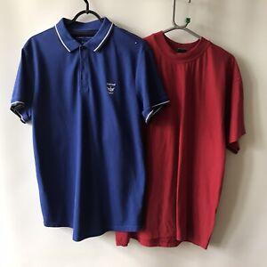 2 x Mens T-Shirts Firetrap Pique Polo Shirt Blue Canda Red T-Shirt Medium