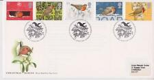 GB Royal Mail FDC 1995 Conjunto de Navidad Belén PMK + Pegatina Robins