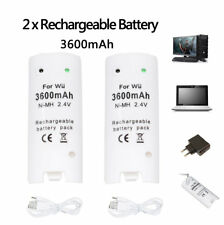 2pcs RECHARGEABLE BATTERY + USB cable charger FOR NINTENDO WII REMOTES White new