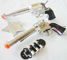 2x Toy Cowboy Guns! Wild Western Lone Ranger Silver Revolvers Pistol Costume Set