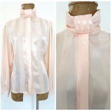 Vintage 80s Shiny Satin Top Size Medium Pink Stripe Secretary Blouse Shirt