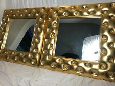 Pair Distressed Chesterfield Style Deep Buttoned Gilt Beveled Glitz Wall Mirrors