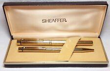 Sheaffer Targa Geometric Gold Plated #1007 Fountain Pen/Ball Pen Set New in Box