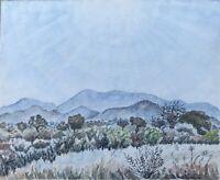 Aquarell Sonniger Tag in hügeliger Landschaft Berge Unbekannter Impressionist