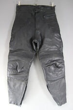 EURO STYLE BLACK LEATHER BIKER TROUSERS: WAIST 32 INCHES/INSIDE LEG 26 INCHES