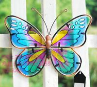 Metal +Glass Butterfly Sculpture Art Yard Outdoor Lawn Garden Decor