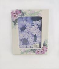 """NWT Burnes of Boston Hand painted Floral White Metal Picture Frame 7"""" x 5"""""""