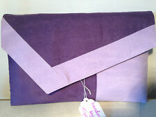 OVER SIZED LILAC AND PURPLE COLOR BLOCK faux suede clutch bag, fully lined BN