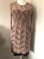 Whistles Nude & Black Lace Pencil Dress Size 10 3/4 Sleeves Wiggle